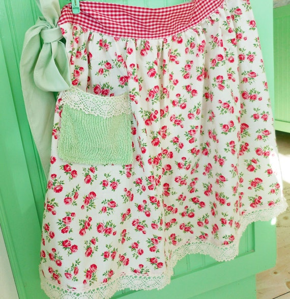 new APRON from vintage fabrics red ROSES chenille lace gingham bridesmaid gift handmade one-of-a-kind