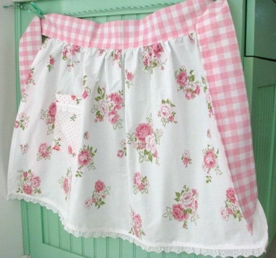 pink roses new APRON handmade with VINTAGE fabrics checks eyelet lace kitchen GIFT sweet