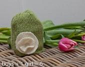 Infant wool sak upcycled hat