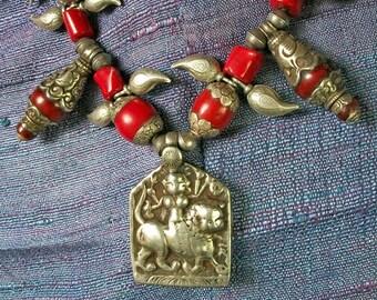 TwiceTreasured Fabulous silver fusion tribal Hindu Goddess Durga Necklace