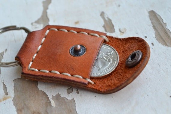 Leather keyring-gift handmade-Personalized keyring-Hand Stitched- Red Brawn