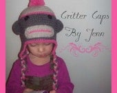 Crochet Sock Monkey Hat or Beanie - Great for Photo Prop - Newborn to Adult sizes available