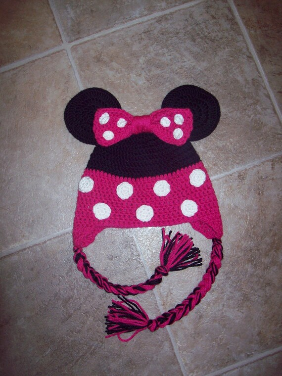 Crochet Minnie Mouse Hat or Beanie - Great for Photo Prop - Newborn to Adult sizes available