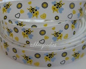 5/8 CUTE Bees Bee Grosgrain Ribbon by the yard yd yrd 5 Yards Craft scrapbooking Hair Bows supplies