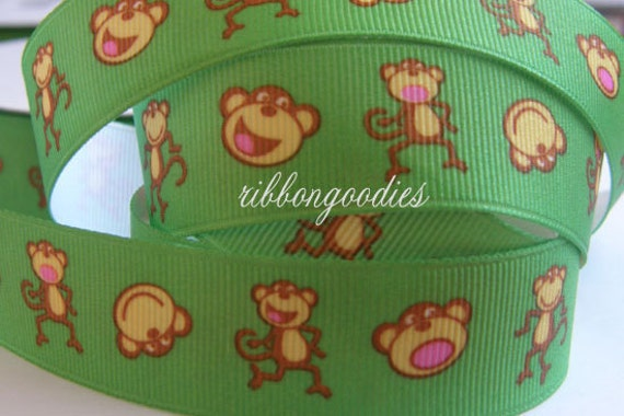 7/8 Monkey Ribbon on Green Grosgrain Ribbon by the yard for Boutique Hair Bow Making Supplies
