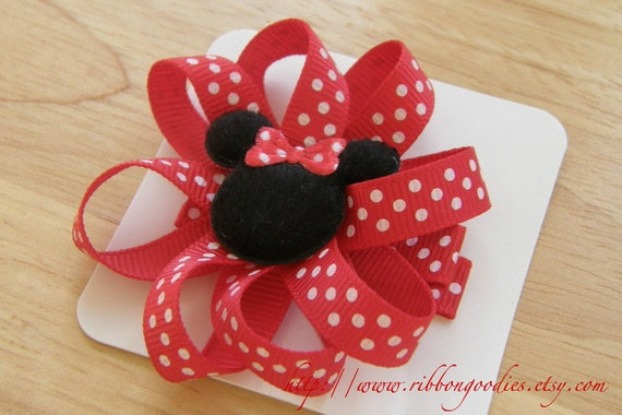 Mickey Minnie Set Hair Bow Clips Red White Polka Dots Clippys Clippies Mouse Head Free No Slip Grips READY TO SHIP