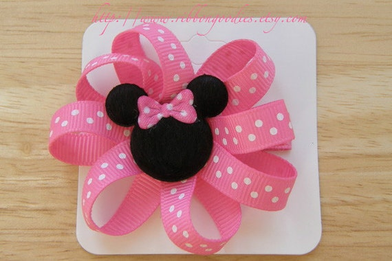 READY TO SHIP Mickey Minnie Set Hair Bow Clips Pink White Polka Dots Clippys Clippies Mouse Head Free No Slip Grips