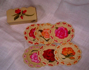 Handpainted with roses wood coasters and storebox