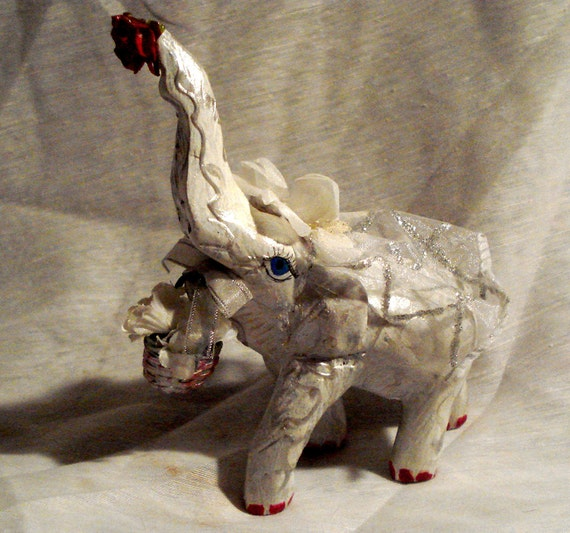 Elephant Bride,  one of a collection of hand painted elephants