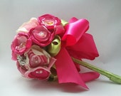 Raspberry No.1 Vintage Inspired Handmade Bridal Bouquet with Vintage Brooches Ready To Ship