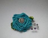 Aqua Blue Wrist Corsage for Prom Babyshower Bridal Shower or Statement Bracelet