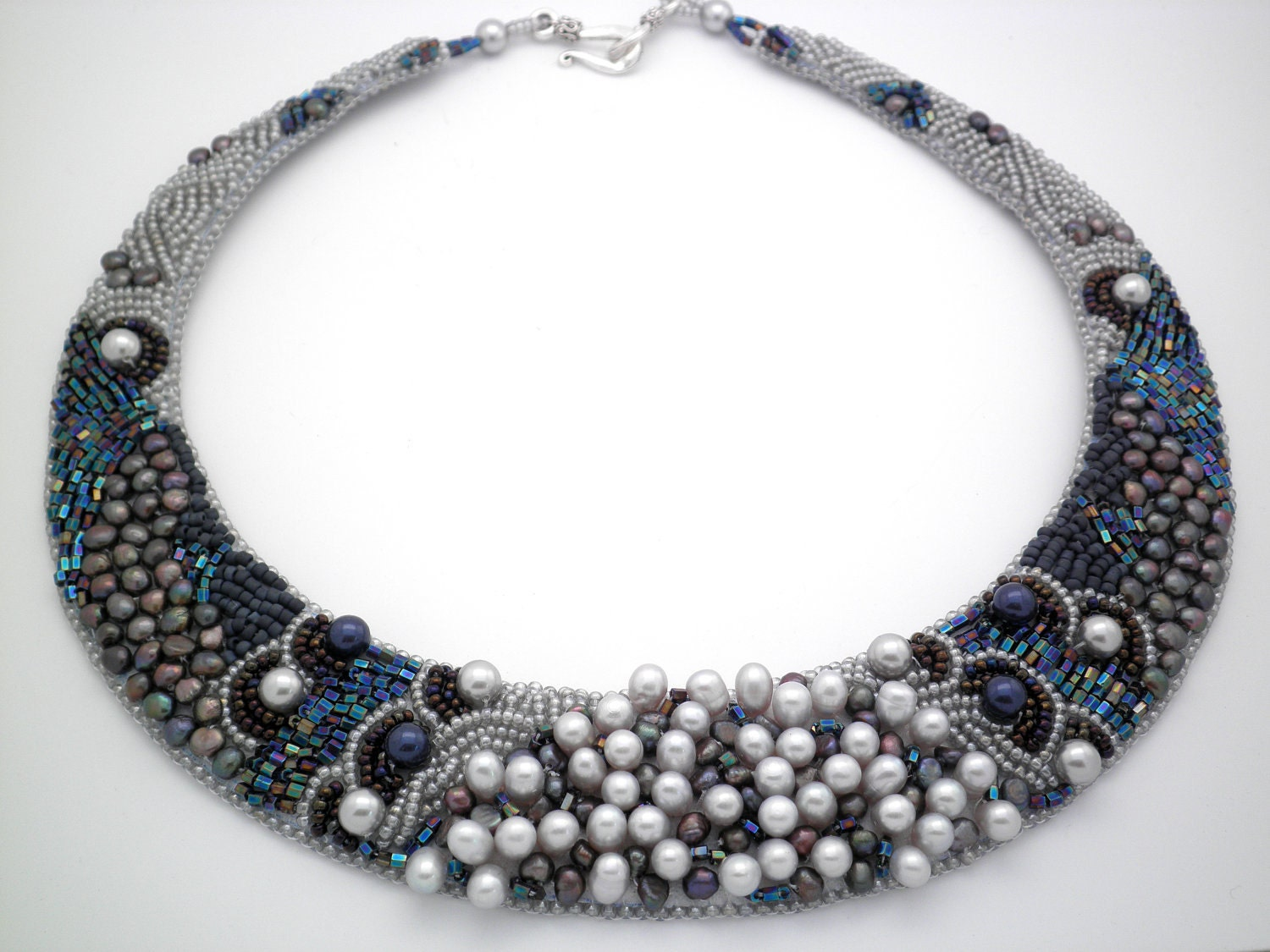 Custom only marissa freshwater pearl bead embroidered collar