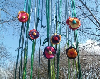 Made to Order Wool Felted Flowers Stalks and Sky String Curtain