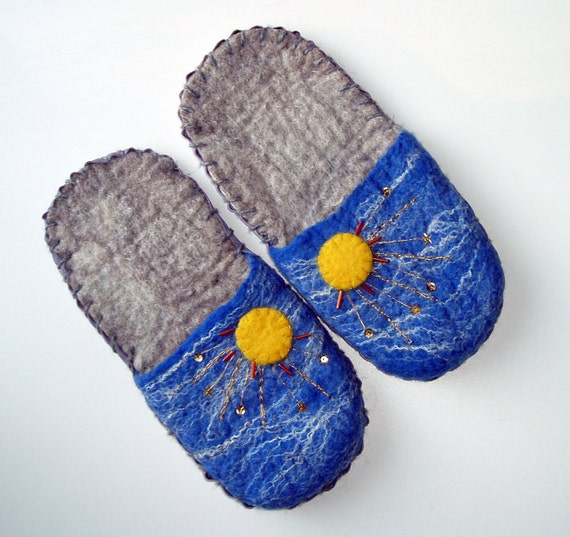 Stormy Sky and Sunshine Wool Felted Slippers