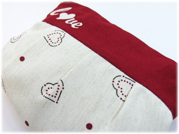 zippered pouch whit hearts, make up bag