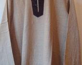 Large Men's Cotton Tunic Khadi Velvet Kurta