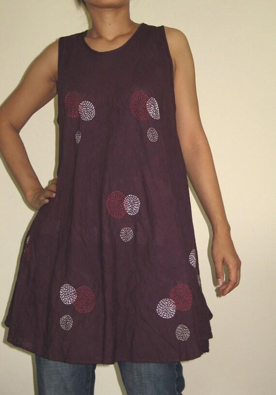 Thai Cotton Mini Dress / Tank Top - purple