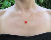 Coral necklace, gold necklace, Coral charm necklace, delicate necklace, everyday necklace, everyday jewelry, gold filled chain, Red coral