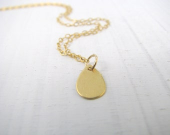 Drop charm Necklace, gold necklace, simple gold necklace, minimalist necklace, everyday jewelry, 14k gold filled