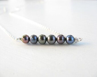 Pearl Necklace, silver necklace, simple necklace, modern jewelry, delicate necklace, black pearls, bridal necklace, weddings