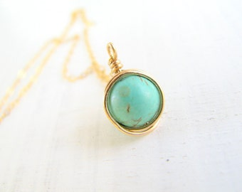 Turquoise necklace, gold necklace, wire wrapped necklace, 14k gold filled chain, delicate, simple necklace gold, minimalist, modern  jewelry