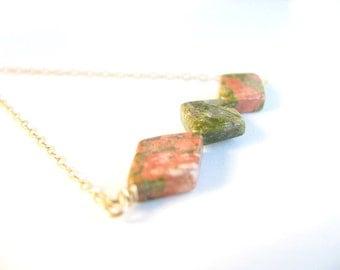 Geometric necklace, Jasper necklace, gold necklace, simple necklace, geometric jewelry, gemstone necklace, earthy jewelry