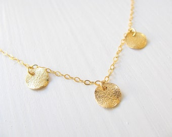 Gold disc necklace, bridal necklace, gold necklace, coin necklace, wedding jewelry, charm necklace, disc necklace