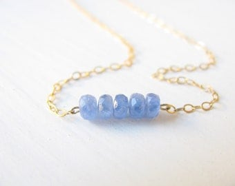 Sapphire necklace, gold necklace, bridal necklace, blue gemstone necklace, genuine Sapphire, delicate gold necklace, gold filled