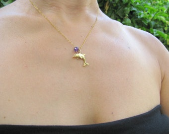 Dolphin charm necklace, dolphin necklace, Amethyst necklace, delicate, everyday necklace, gemstone necklace, charm necklace