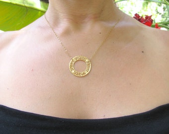 Circle necklace, gold necklace, Filigree necklace,14kt gold filled, bridal, bridesmaid necklace, delicate, bridal necklace