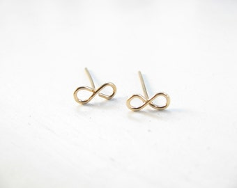 Infinity stud earrings, gold post earrings, small post earrings, Gold stud earrings, gold filled earrings, infinity earrings, infinity studs