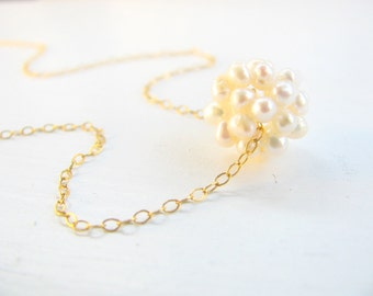 Pearl necklace, gift idea for her, bridal necklace, bridesmaid necklace, wedding jewelry, pearl cluster necklace, gold necklace, gold filled
