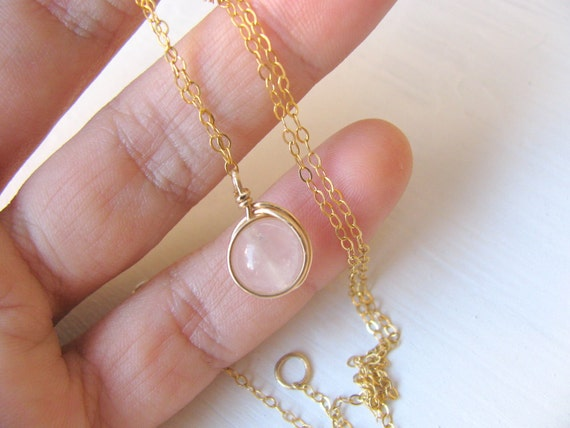 Rose Quartz necklace, gold necklace, wire wapped necklace, 14k gold filled chain, delicate, simple necklace gold, minimalist, modern jewelry