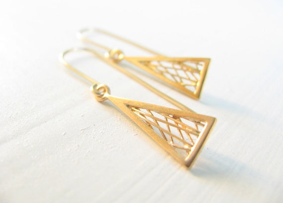 Triangle earrings, gold earrings, geometric earrings, Geometric Jewelry, Dangle earrings, gold filled earrings