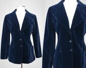 Kirkland Hall for Neiman-Marcus Vintage Blue Velvet Jacket Size L