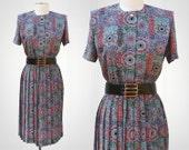 Geometric Pleats 1980's Vintage Dress Size L