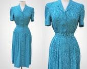 Teal Polka Dot 1980's Vintage Pinup Dress Size S