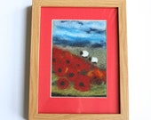 Felt Landscape of Wiltshire Poppies with Grazing Sheep