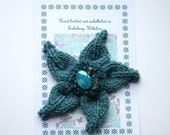 Brooch Corsage, teal blue, knitted and beaded