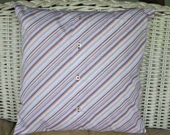 Upcycled Men's Shirt Lavender, Red Diagonal Stripe Pillow Cover for Dorm or Home