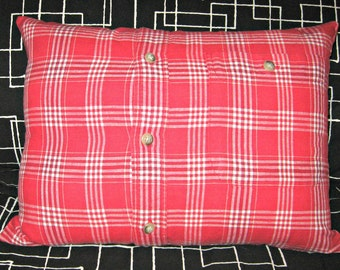 Upcycled Men's Shirt Pillow Cover for Home, Kid's Room or Dorm Room--Red Plaid with Pocket