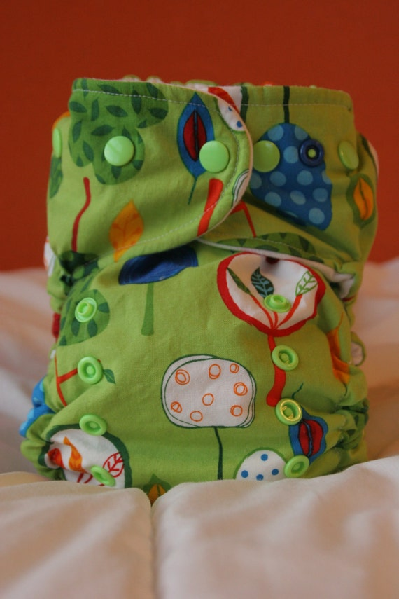 Organic Cotton Bright Trees One Size Cloth Diaper Cover