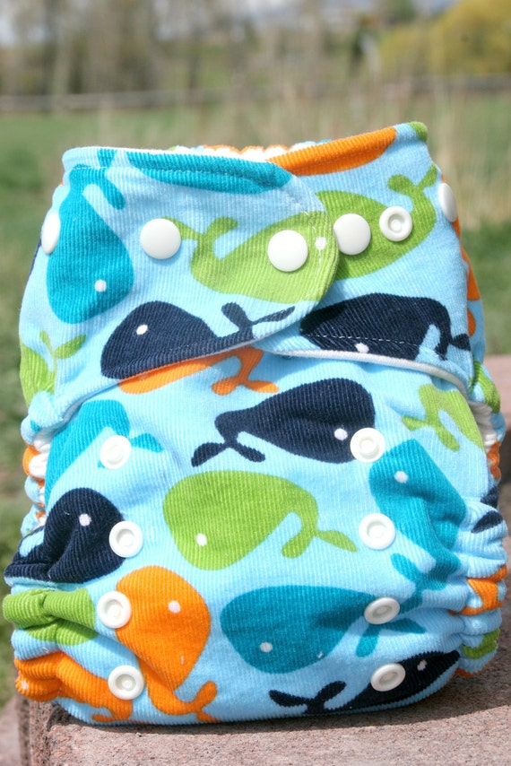 Organic Cotton Whale One Size Cloth Diaper Cover