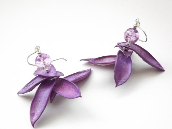 Flower petal earrings with purple plum lilac petals and purple tourmaline crystal sterling silver earrings