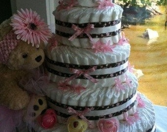 Girls 5 tier diaper cake