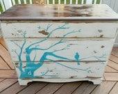 Distressed, Three-Drawer Vintage Dresser with Branch and Bird design