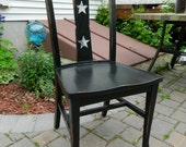 Rustic Distressed Hand Painted Black Colonial Dining Chair with White Stars