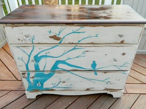 Distressed, Three-Drawer Vintage Dresser with Branch and Bird design