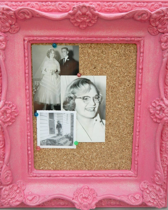 Cottage Shabby Chic Pink Victorian-Style Frame Cork Bulletin Board