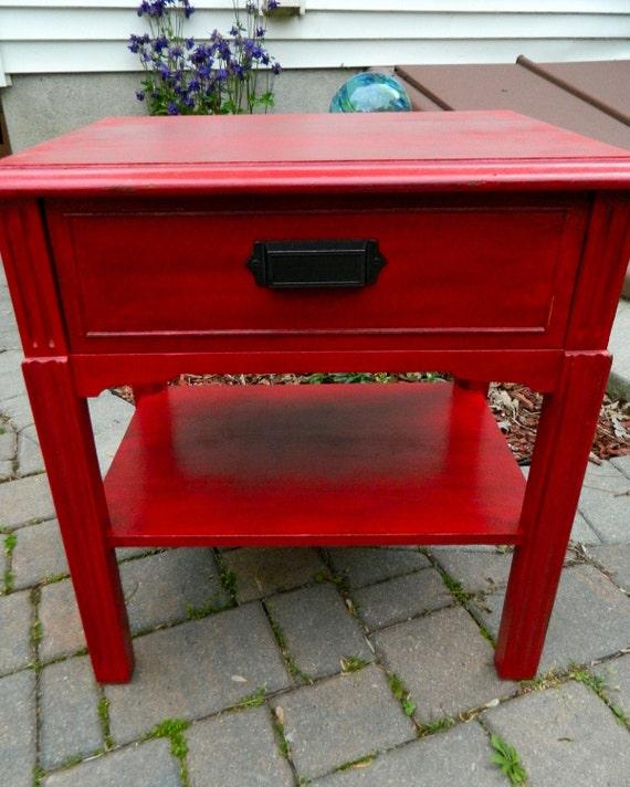 Red Vintage Nightstand